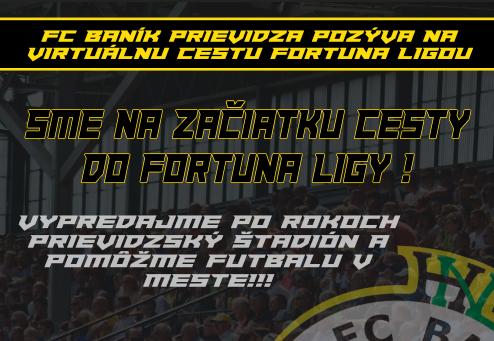 obr: Vypredajme štadión a pomôžme futbalu v Prievidzi. Cieľom je virtuálne prekonať historickú hranicu 8532 divákov