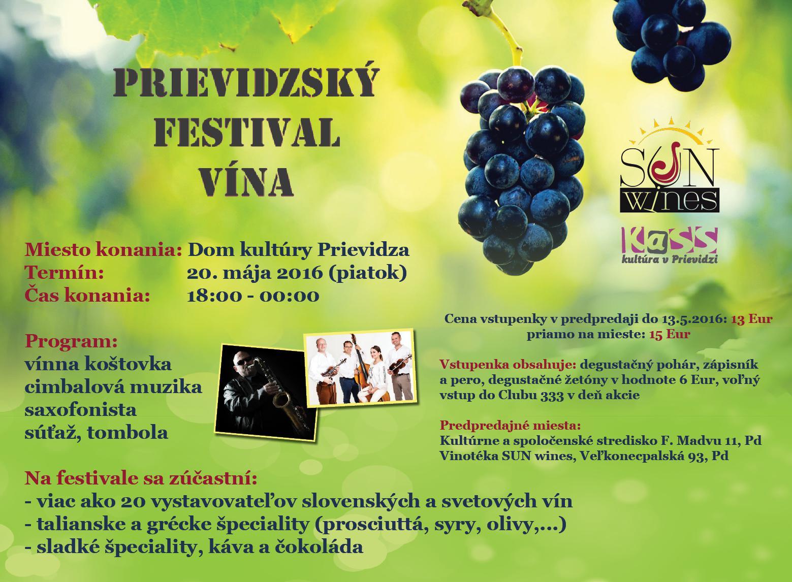 obr: Náš partner SUN wines organizuje Prievidzský festival vína!