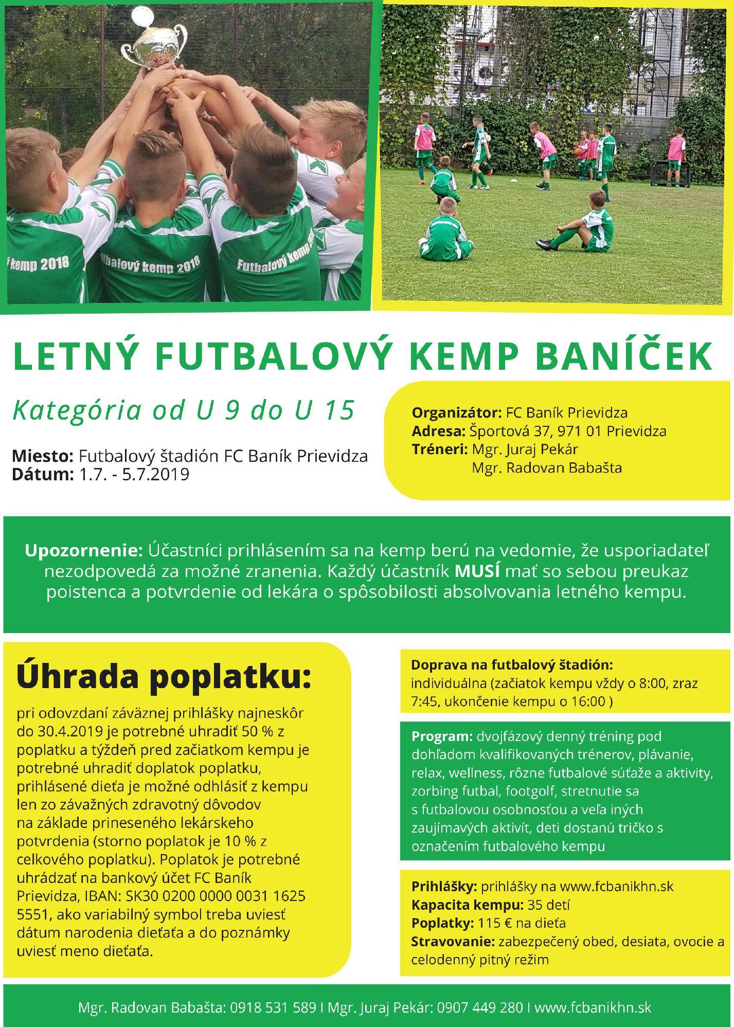 obr: Letný futbalový kemp Baníček 2019