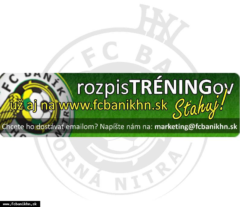obr: AKTUÁLNY ROZPIS TRÉNINGOV FC BANÍK UŽ AJ NA WEBE